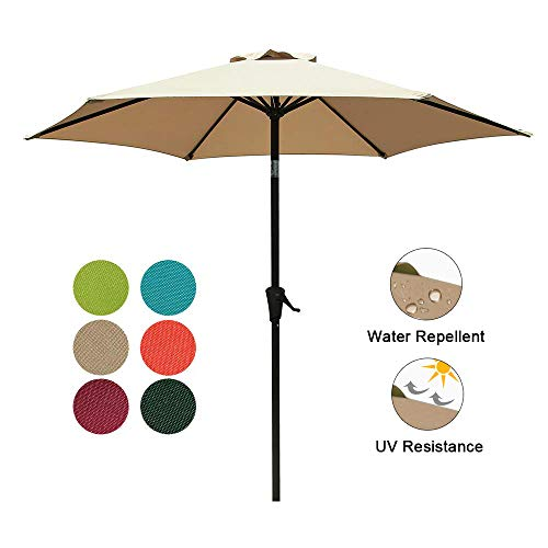 COBANA 7.5 ft Patio Umbrella Outdoor Table Market Umbrella with Push Button Tilt and Crank, 6 Ribs, - Table 7' Picnic