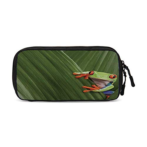 Animal Decor Useful Small Data Storage Bag,Red Eyed Tree Frog Hiding in Exotic Macro Leaf in Costa Rica Rainforest Tropical Nature Photo for Office,9.4