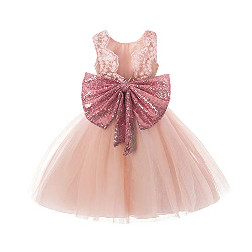 N.L.B Baby Girl Lace Mesh Tutu Dress Rose Gold Sequin Bow Lower Girl Dresses Toddler Princess Gown Pink 90]()