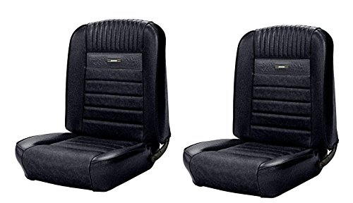 Fastback Upholstery - Deluxe Pony Front Bucket Seat Upholstery for 1964 to 1965 Mustang - Black