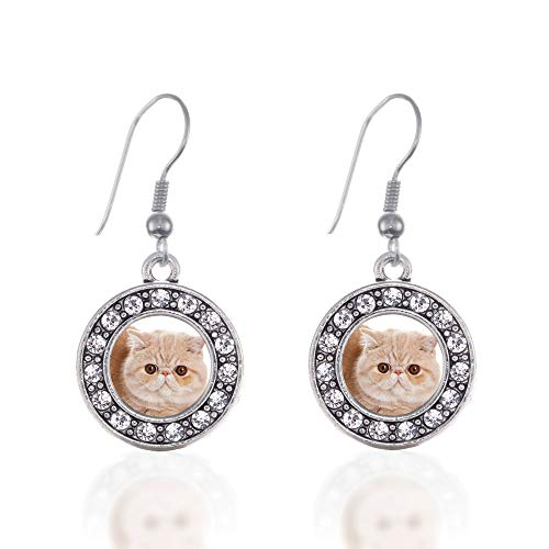 (Inspired Silver - Persian Cat Charm Earrings for Women - Silver Circle Charm French Hook Drop Earrings with Cubic Zirconia Jewelry)