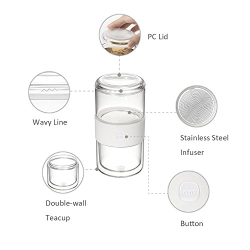 -[ ZENS Travel Tea for One Set, Glass Teapot with Infuser for Loose Tea, Double Walled Glass Cup an