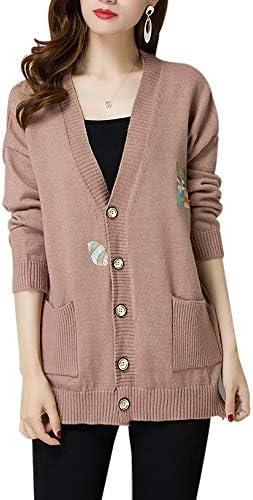 [해외]롱가 디 건 니트 느긋한 경상 귀여운 여우 여우 刺 繡 캐주얼 복 니트가 디 건 여성용 멋쟁이 포켓 니트 드레스 아우터 상판 봄 여름 냉방 대책 / Long Cardigan Knit Loose Sheer Cute Fox Sashimi Casual Uniform Knit Cardigan Women`s Fashionab...