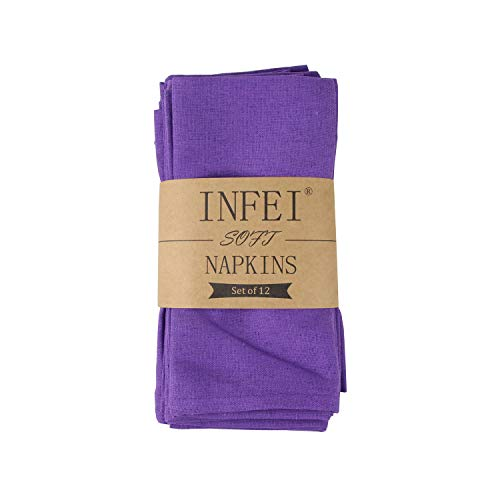 (INFEI Soft Solid Color Linen Cotton Dinner Cloth Napkins - Set of 12 (40 x 40 cm) - for Events & Home Use (Purple))