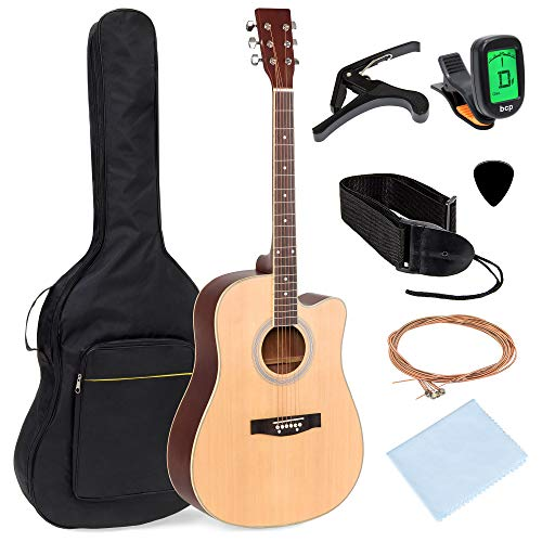 Best Choice Products 41in Full Size Beginner Acoustic Cutaway Guitar Kit Musical Instrument Bundle Set w/Padded Case, Strap, Capo, Extra Strings, Digital Tuner, Polishing Cloth, 4 Picks – Natural