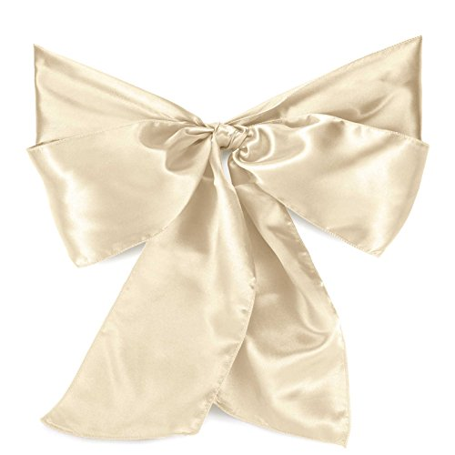 Lann's Linens - 10 Elegant Satin Wedding/Party Chair Cover Sashes/Bows - Ribbon Tie Back Sash - Ivory (Cover Chair Ties)
