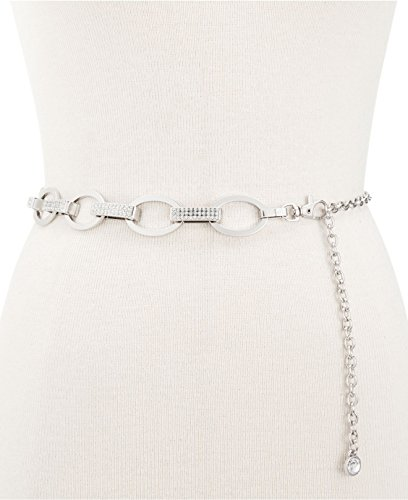 Silver Tone Chain Link Belt (INC International Concepts Women's Silver Pave Link Chain Belt Nickel Med-Large)
