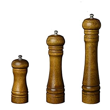 5 inch HNJZX Pepper Grinder Classical Wooden Oak Manual Kitchen Wooden Fresh Salt and Pepper Mill 5 inches //8 inches //10inches