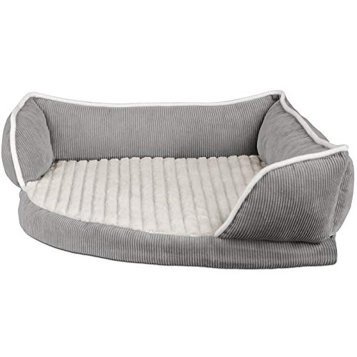 Paws & Pals Dog Bed for Pets & Cats – Triangle Corner Lounger with Self Warming Cozy Inner Cushion for Home Crate & Travel – Corduroy, Gray