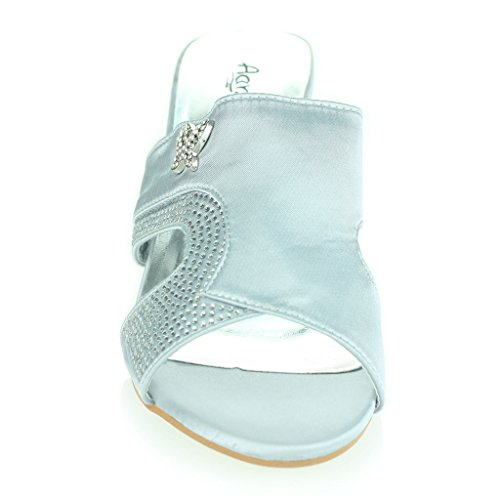 Mujer Señoras Punto de presión Suave Flexible Masaje Verano Casual Ponerse Tacón de cuña Sandalias Zapatos tamaño Plata