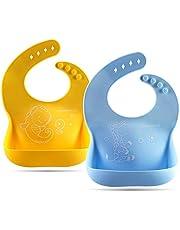 Cute Stone Wasserdichte Silikon-Lätzchen für Babys und Kleinkinder, Soft Baby-Lätzchen mit Food Catcher-Tasche, Einstellbar, Schmutzabweisend, Leicht Abwischen BPA-frei, 2 Stücke, Blau/Gelb