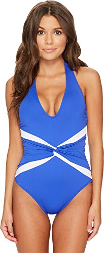 Lauren Ralph Lauren Women's Beach Club Plunge Twist Halter One-Piece Shaping Fit w/Removable Cups Capri Blue 4 by Lauren by Ralph Lauren (Image #3)