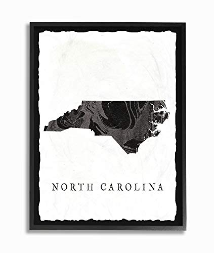 The Stupell Home Décor Collection Black and Grey Marbled Paper North Carolina State Silhouette Framed Giclee Texturized Art, 16 x 20, Multi-Color