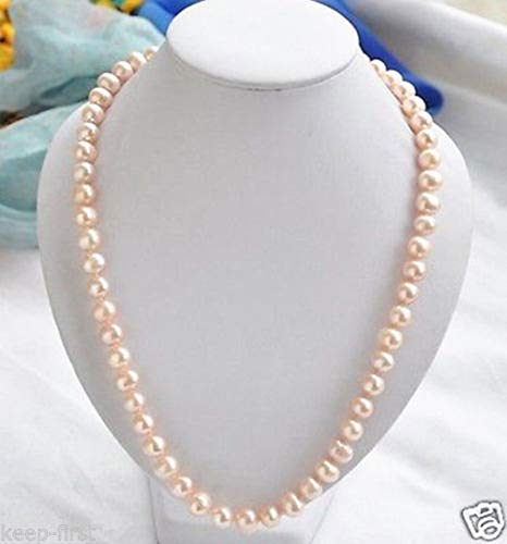(FidgetKute Fashion 7-8MM ATURAL Pink AKOYA Cultured Freshwater Pearl Necklace 18
