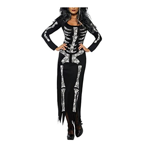 Plus Size Skeleton Zombie Costumes (Lada Vida Halloween Customs For Women Skeleton Print Sexy Full Sleeve Long Party XL-Size)