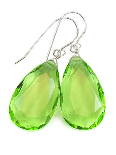 Cut Pear Faceted (Sterling Silver Green Simulated Peridot Earrings Faceted Large Pear Teardrops Simple Briolette Dangle Drops)