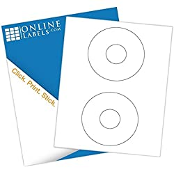 "Online Labels - 4.5"" CD/DVD Labels - Pack of 200 CD/DVD Stickers, 100 Sheets - Inkjet/Laser Printer"