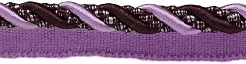 Noblesse Collection Lip Cord Style# 0716H Color: Luscious Lavenders Sold by The Yard Large 7//16 inch Dusty Mauve Dark Plum 2927