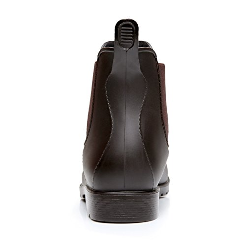 Boot Donna Caviglia Stivali Di Pioggia Gomma Antiscivolo Impermeabile Stivaletti Uomo Scarpe Rain Marrone Chelsea XqzBYqw