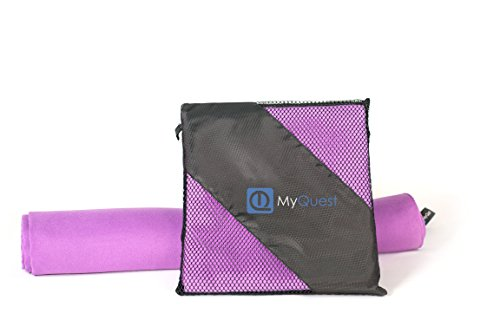 MyQuest Microfiber Towel, Small 16x32in Facial Size With Case - Premium Grade For Sports, Yoga, Hiking, Travel - Hassle Free - Purple