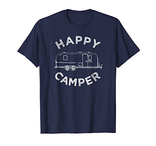 Caravan Blue Apparel - Mens Happy Trailer Camper T-Shirt, Retro Camping Caravan Tee Medium Navy