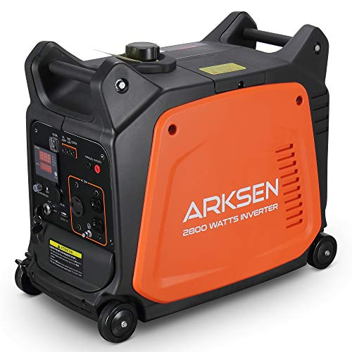 Arksen 2800W Super Quiet Portable Gas-Powered Inverter Generator With Remote Electric Start - USB Outlet & Parallel Capability, CARB EPA Compliant Arksen