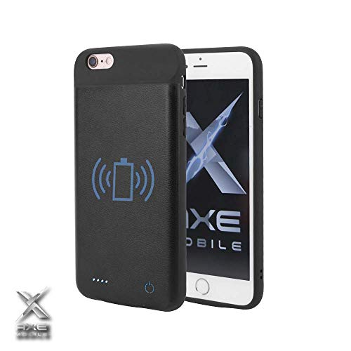 Axe Mobile - iPhone Qi Wireless Battery Charging Case, 2600/3800/4000 mAh for iPhone 6/7/8/X and 6/7/8 Plus, Portable Wireless Charging Case Extended Battery Pack (iPhone 6 Plus/ 6s Plus (3800 mAh))