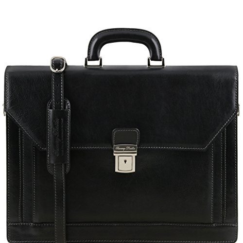 81413494 - TUSCANY LEATHER: ROMA (N) Cartable Porte ordinateur en cuir avec 3 compartiments, noir