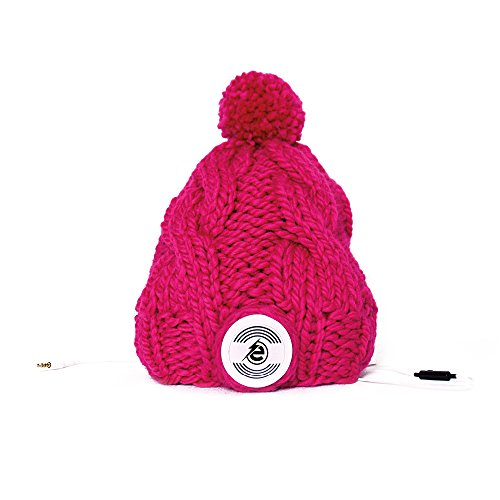 Earebel Pink Hand Knitted Plait Bobble Hat Beanie with Built-In White AKG Headphones, Churra by Earebel powered by AKG