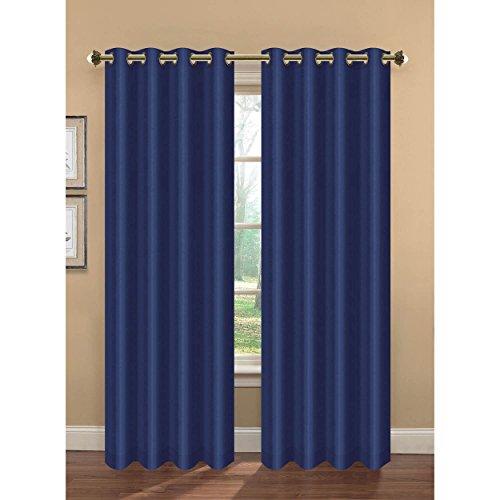 Bella Luna Camilla Faux Silk Room Darkening Extra Wide 108 x 84 in. Grommet Curtain Panel Pair, Navy