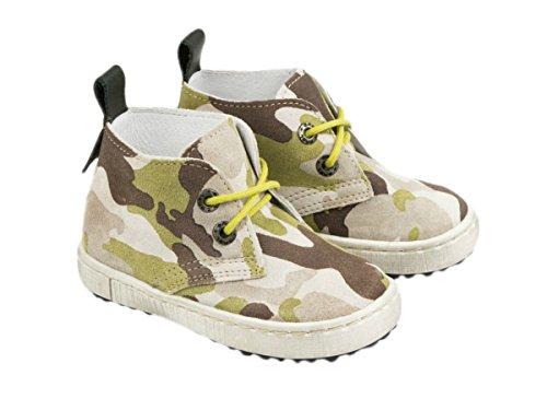 Chaussures en cuir Emel fabriquées main en UE – Daim motif camouflage (marron) lacets – pointure 21