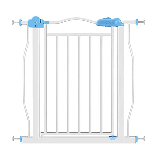 Baby Gates Extra Wide Baby Gates for Stairways & Hallways, Pressure Mounts Pet Gate with Dog Cat Door, 77-171cm Wide, 81cm Height (Color : Blue, Size : Width 127-137cm)