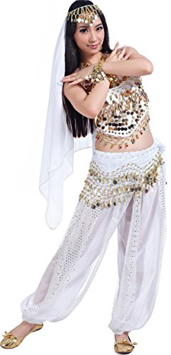 Athena YY Women's Halloween Carnival Costumes Accessories Belly Dance Performance Outfit, Aa5-piece White, 4/8/10/12/14 -