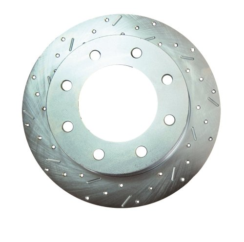 SSBC 23155AA3L Drilled Slotted Plated Front Driver Side Rotor for 2002-05 Hummer H2 (Ssbc Turbo Rotors Slotted)