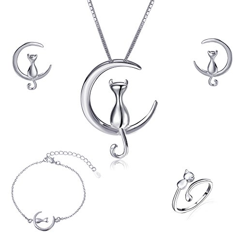 925 Sterling Silver Cat Eye Moonstone Apple/Cat Kitty Crystal Pearl Charms Pendant Necklace and Earring Set for Women (Romantic Moon Cat Jewelry Set) by ISAACSONG.DESIGN