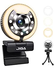 1080P Webcam with Microphone and Light Auto-Focus Play and Plug JIGA Streaming Web Camera for YouTube, Skype, Zoom, Twitch, OBS, Xsplit and Video Calling 3 Adjustable Color Light with Metal Tripod