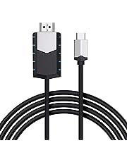 FLYLAND Cable USB C a HDMI (4K a 60Hz), Adaptador Tipo C a HDMI, Compatible con USB 3.1 y Thunderbolt 3 para Macbook Pro/Pad Pro/MacBook Air 2018, iMac 2017, Samsung S9 y más - 6FT / 2m