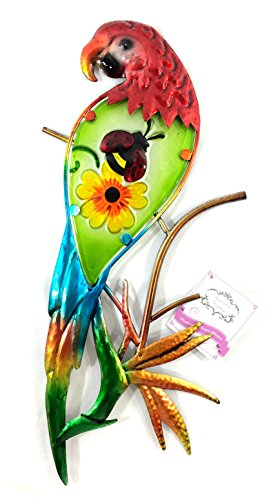 Bejeweled-Display-Parrot-w-Glass-Wall-Art-Plaque-Home-Decor