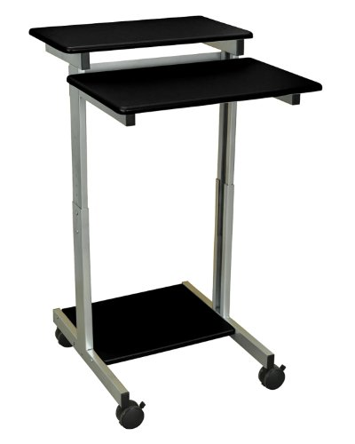 - Luxor Mobile Stand-Up Computer Presentation Cart With Silver Gray Frame And Black Laminated Shelves Electronics, Accessories, Computer