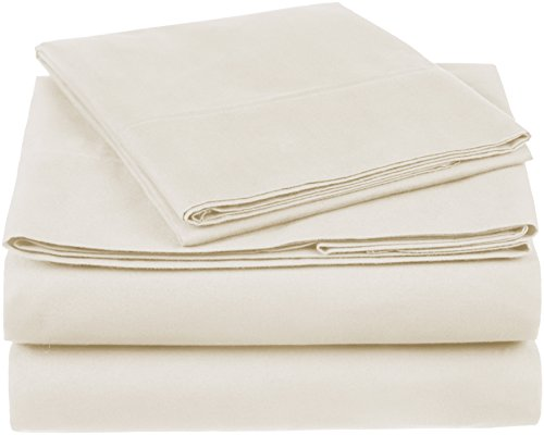 - Pinzon 300 Thread Count Organic Cotton Bed Sheet Set, Twin, Natural