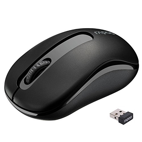 RAPOO Wireless Mouse Mice Portable Mobile for Notebook, PC, Laptop, Computer, Macbook (Black) (Laptop Wireless Trackball)