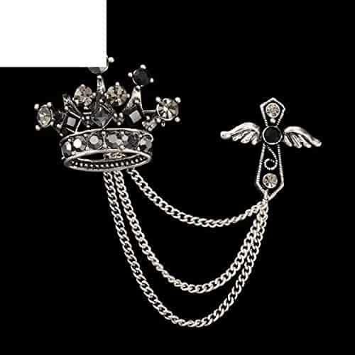 bf6437c2e2f Angel Wing Cross Crown Tiara Brooch Pin Badge Emblem Corsage Lapel Mens  Windbreaker Suit Boutonniere Brooches