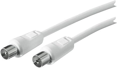 2-Fach Schirmung Schwaiger Antennen Anschlusskabel 90 dB 75 Ohm wei/ß DVB-C//DVB-T2 IEC Stecker  IEC Buchse HDTV 1,5m digital