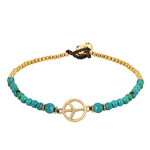 - AeraVida Vintage Peace Sign with Malachite & Fashion Brass Beads Link Anklet
