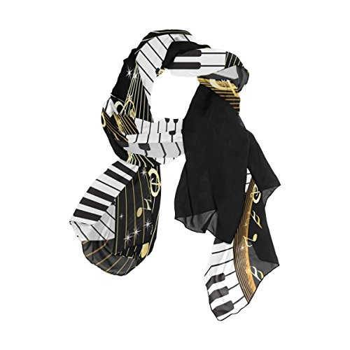 Use4 Fashion Abstract Piano Music Note Chiffon Long Scarf Shawl Wrap -