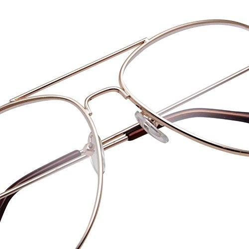 MLC Eyewear Metal Frame Aviator Clear Lens Glasses Fashion Eyewear Non-Prescription UV400 (Royal Gold, Transparent (UV400 Clear))