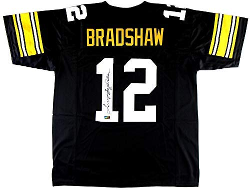 Terry Bradshaw Autographed/Signed Pittsburgh Black Custom Jersey