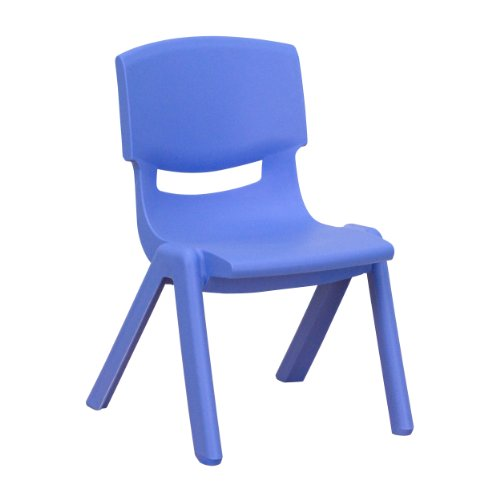 Blue Plastic Stackable School Chair with 10.5'' Seat Height ()