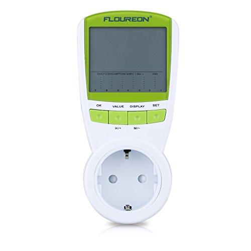 Floureon Leistungsmessgerät Energiekostenmessgerät Energiemessgerät Power-Monitor mit LCD -Display mit Zeit/Energie/Kosten-Anzeige Überlastung-Anzeige Energiemessgerät