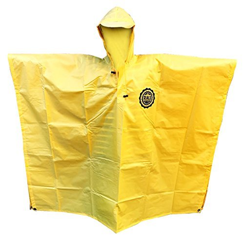 SEAL3 Rain Poncho - Waterproof, Hooded, Heavy Duty PVC Raincoat-Gear. All Outdoor Multi-Use- Hunting, Backpack, Survival, Emergency, Military or Stadium. Adult Men-Women-Kids in Bright Yellow.